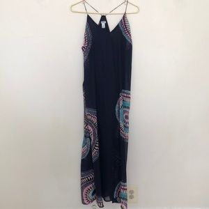 Navy Maxi Dress with tie dyed flare